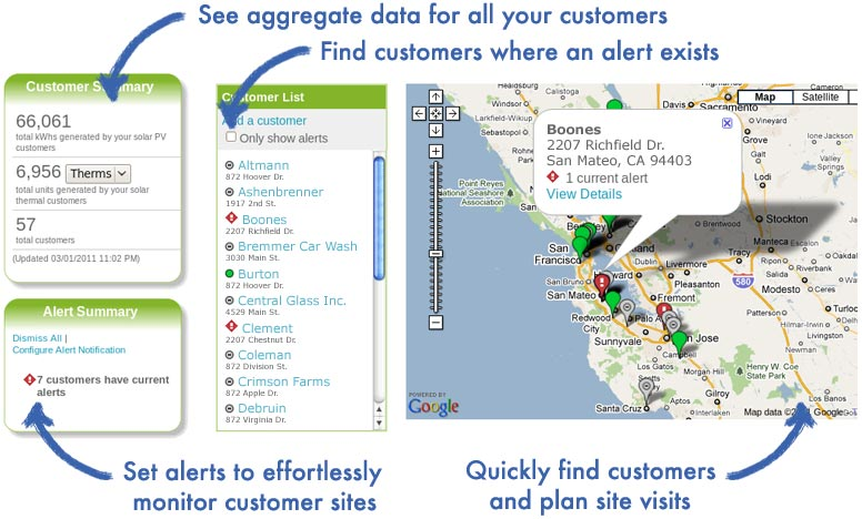 Aggregate energy performance data for all of your customers. Set alerts to effortlessly track customer sites and find customers when an alert exists or coordinate customer and site visits.